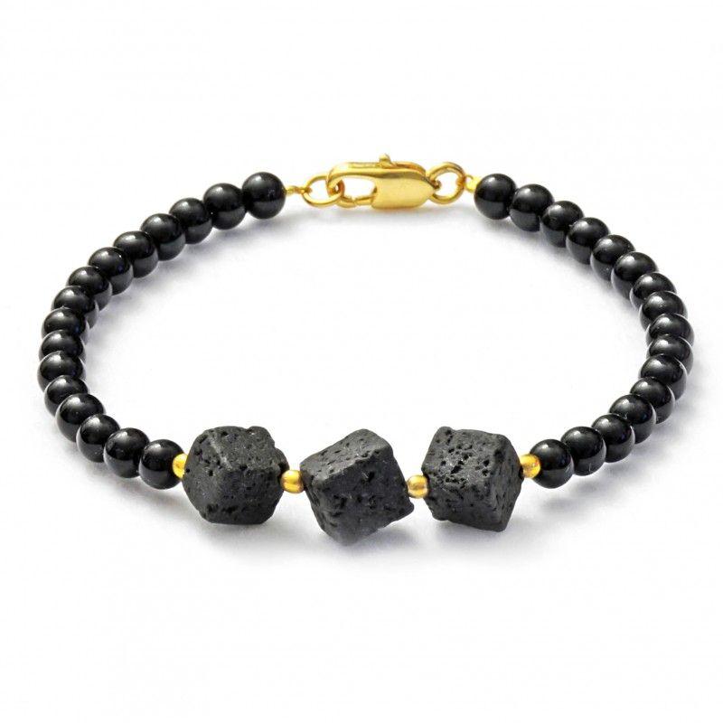 """Black bracelet with onyx and lava """"MIA"""" - Armband mit Onyx und Lava"""