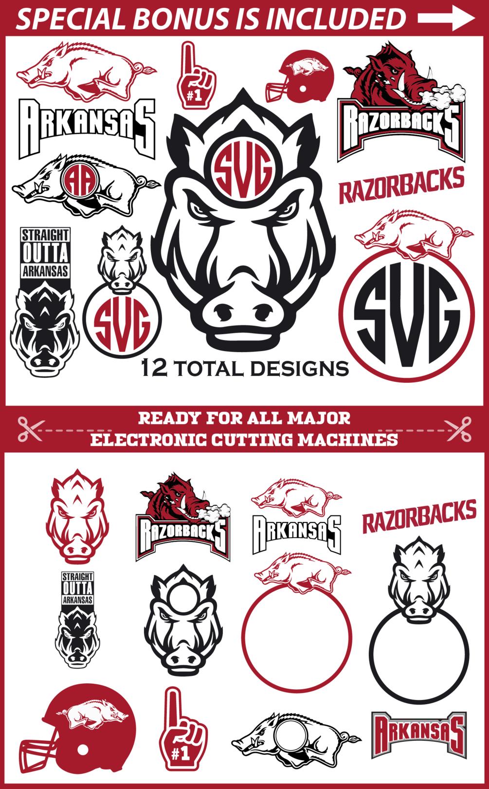 Arkansas Razorbacks Monogram Cut Files   12 Designs   Svg ...