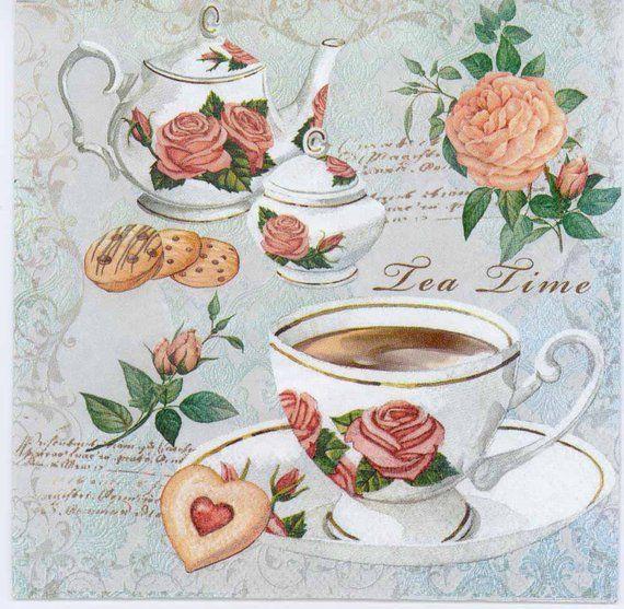Decoupage Napkins | Tea Cups and Roses | Tea Napkins | Rose Napkins | Floral Napkins | Party Napkins | Paper Napkins for Decoupage #papernapkins