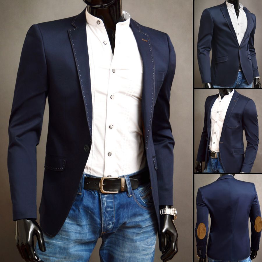 Mens Blue Blazer And Light Shade Blue Jeans Looking Cool