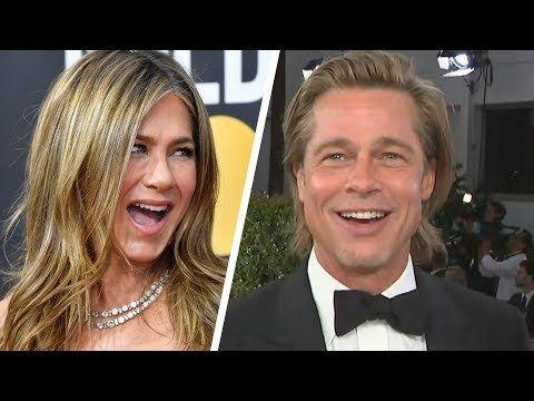 Brad Pitt Calls Jennifer Aniston a 'Good Friend' as Both Attend 2020 Golden Globes - YouTube