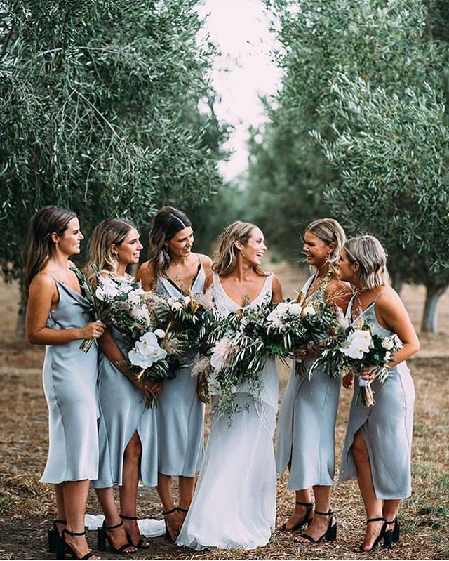 "Daily Wedding Dress Inspo 💍✨ on Instagram: ""The best of the best ✨ Loving these sleek dusty blue bridesmaid dresses next to this gorgeous bride, captured by…"" 1"