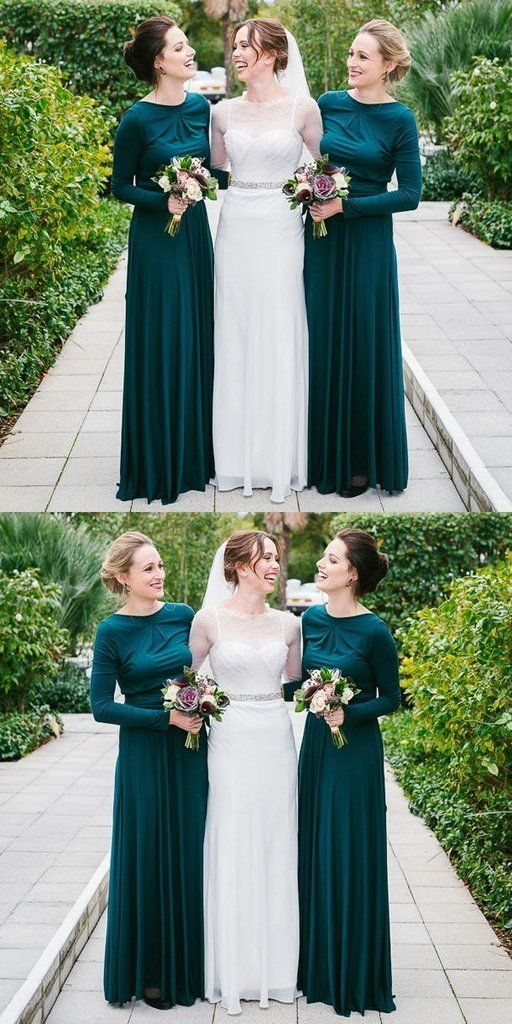 Elegant Green Long Sleeve Chiffon Sheath Backless Beach Bridesmaid Dre Modest Bridesmaid Dresses Long Sleeve Bridesmaid Dress Bridesmaid Dresses With Sleeves