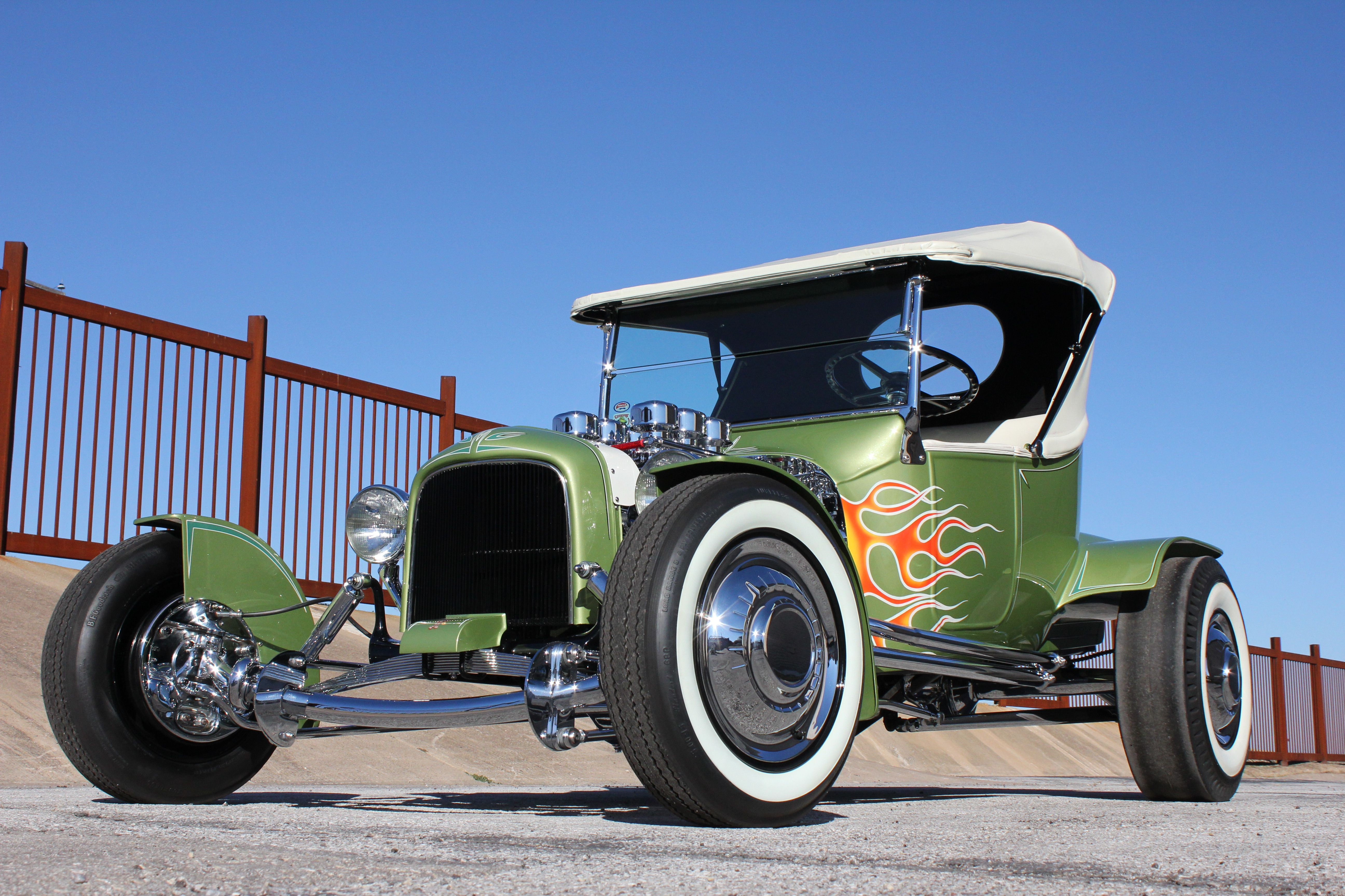 1916 green and aggressive model t. The pinstriped flames show extra ...