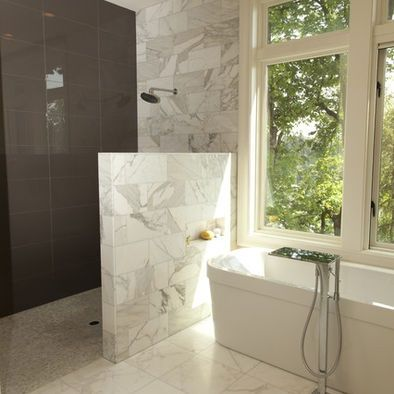 walk in shower 3/4 height wall #froesefarmhouseproject | Bathroom ...
