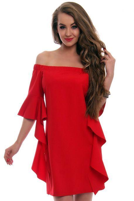 40a546494 Sukienka odkryte ramiona czerwona od CosmosModa // kup teraz! // sklep  online // S,M,L,XL