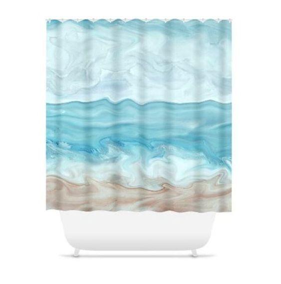 Shower Curtains Curtain Bath Mat Bathroom Sea View 267 Blue