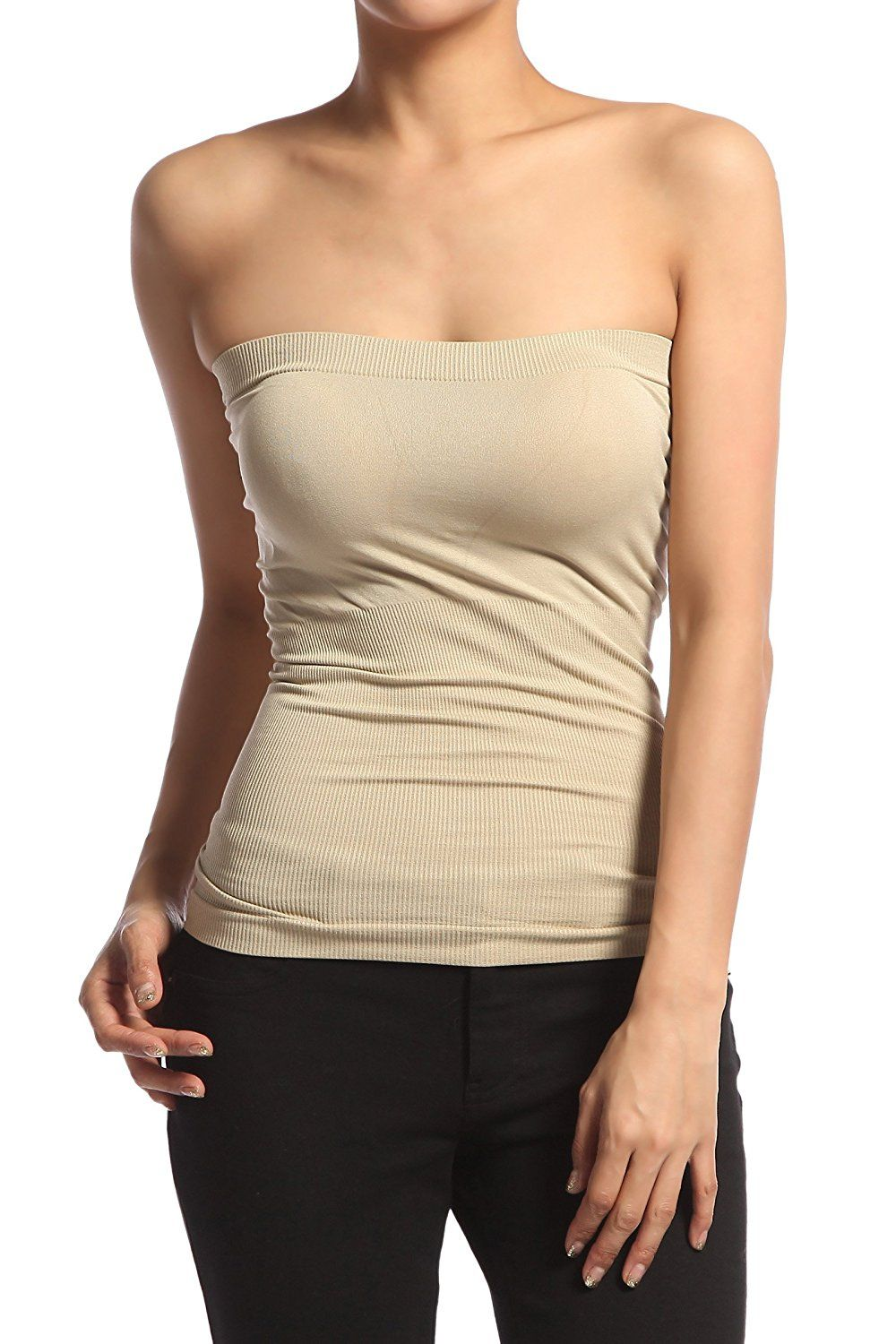 1150eaedf6 TheLovely Seamless Strapless Bandeau Tube Top Shaping Ribbed Waist Tank  Bandeau