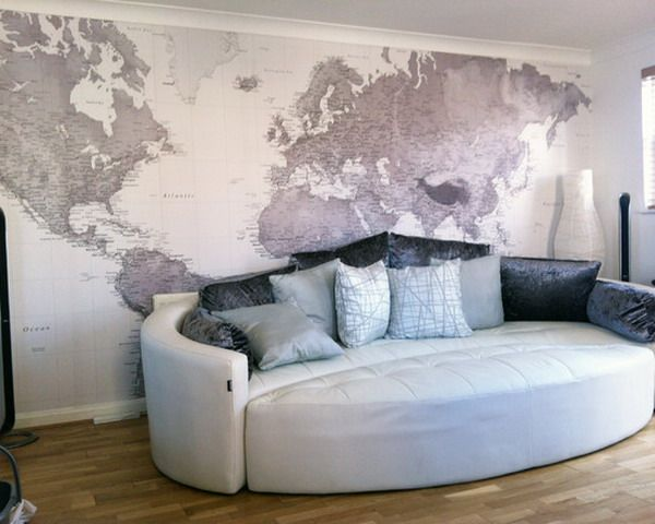 Decorate Custom World Map Murals For Living Room Ideas
