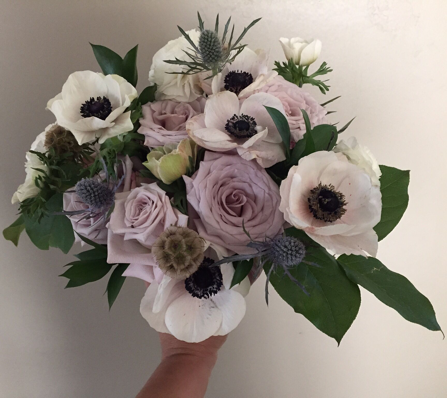 Anemones Menta Roses Sea Holly Scabiosa Pods Israeli Ruscus Flowers