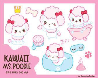 50% OFF SALE, Kawaii dog clipart, cute dog clipart, kawaii toy dog clipart, kawaii Poodle clipart, princess clipart, Commercial use