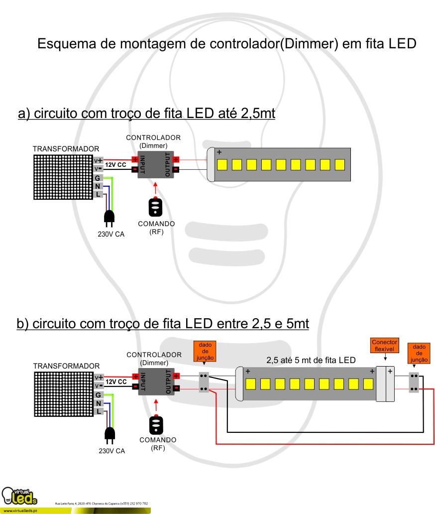 Esquema De Montagem Dimmer Em Fita Led 1 Cor In 2018 9v Circuit Calculation How To Calculate Series Resistor Watts Arduino Portugal Electric