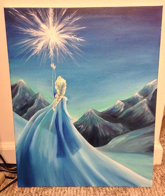 Elsa Frozen Painting On Etsy 70 00 Frozen Painting Disney Art Disney Paintings