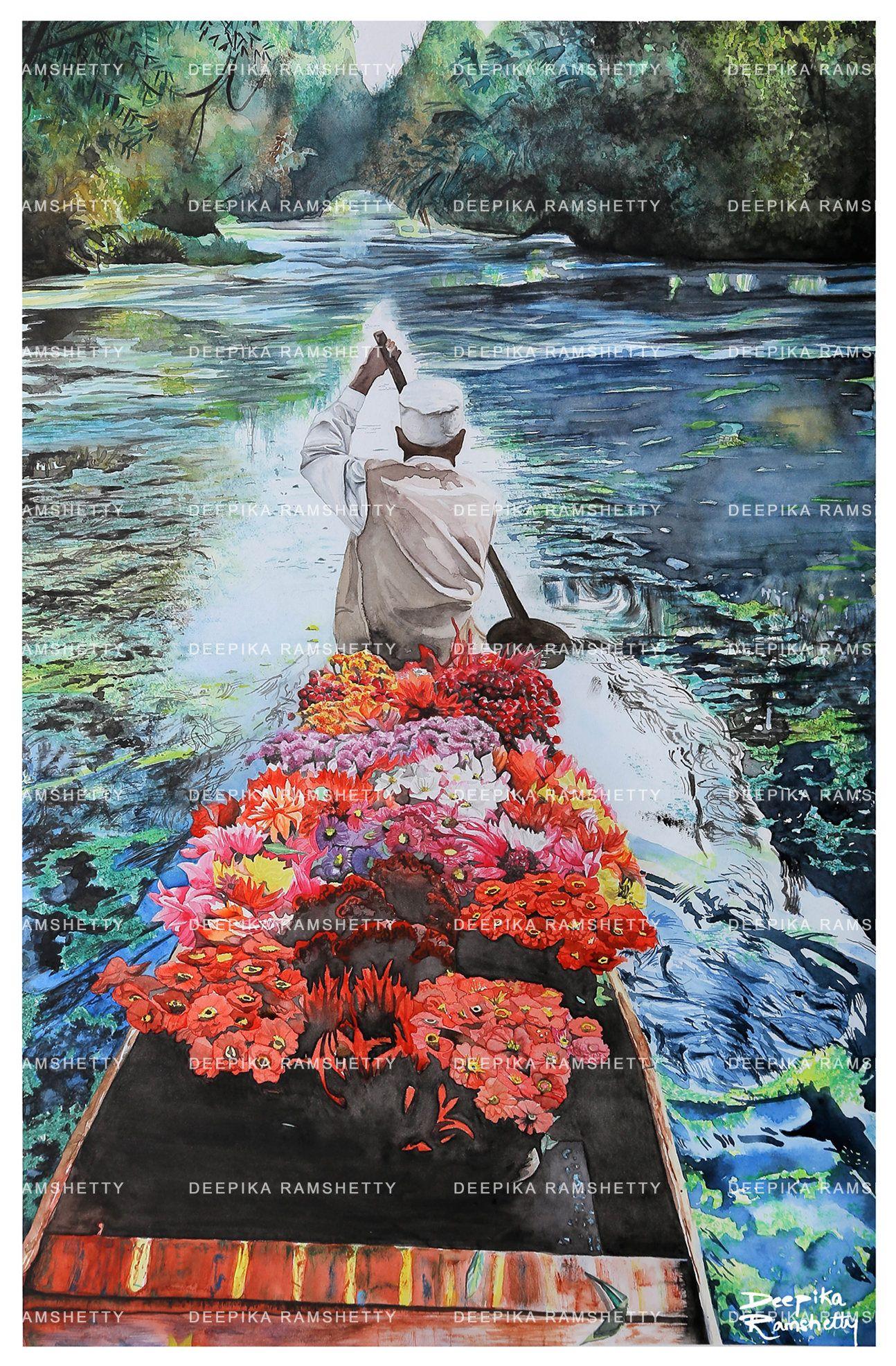 India Art Print Watercolor Landscape Print India Painting Print Of Original Watercolor Realism Painting Watercolor India Art Kashmir India Painting Landscape Prints Realism Painting