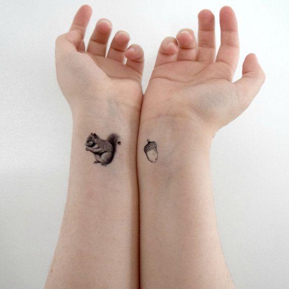 Tiny Temporary Tattoo Set Of 2 Squirrel And Nut Acorn Black