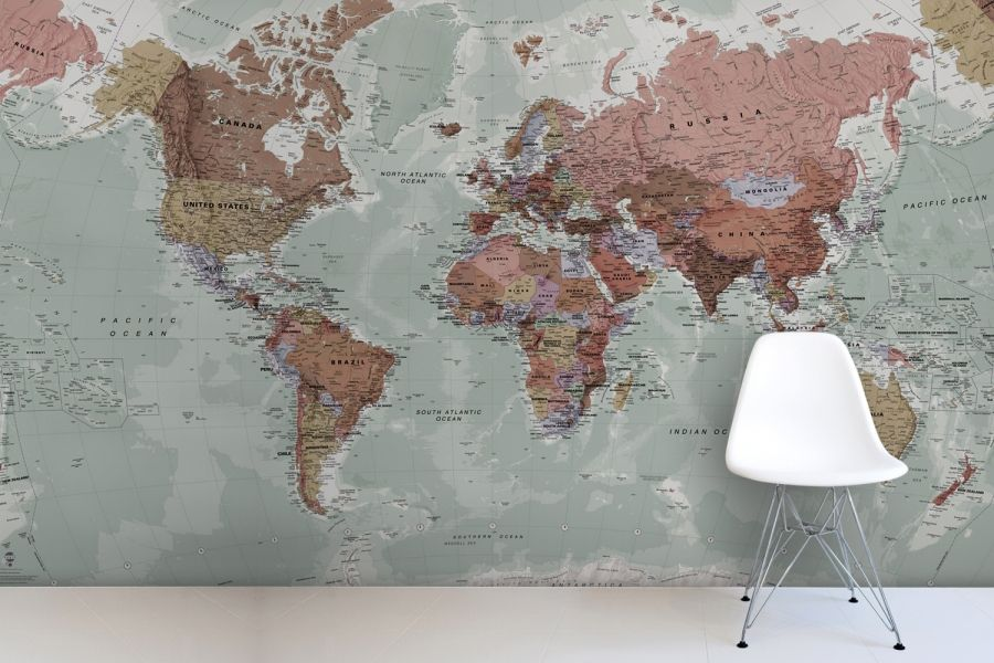 Classic World Map Mural Classic World Map