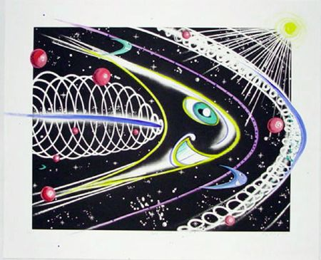 Kenny Scharf | Space Travel | 2002 | Etching with hand-painting (line etching and aquatint with spit-bite aquatint)