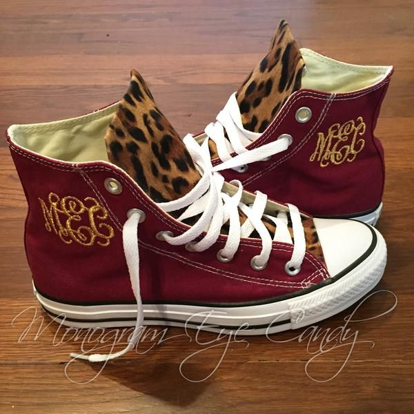 Customized Converse Sneakers- Wine/Cheetah Print