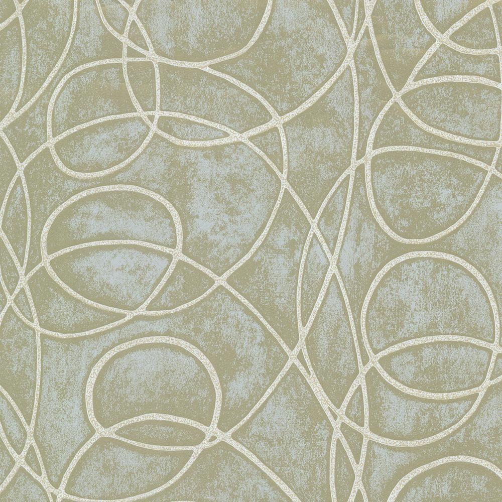 Brewster Green Novia Geometric Swirl Wallpaper Sample