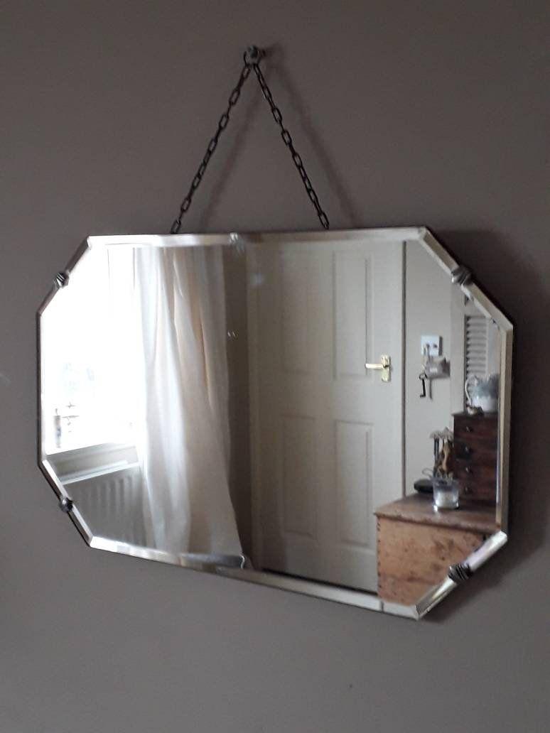 Elegant Vintage Frameless Eight Sided Mirror With Sleek Bevelled Edge And Long Decorative Hanging Chain Beveled Mirror Bathroom Vintage Bathroom Mirrors Frameless Beveled Mirror