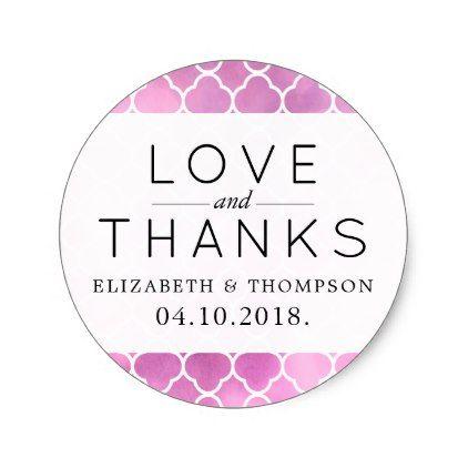 thank you quatrefoil shape watercolors pink classic round