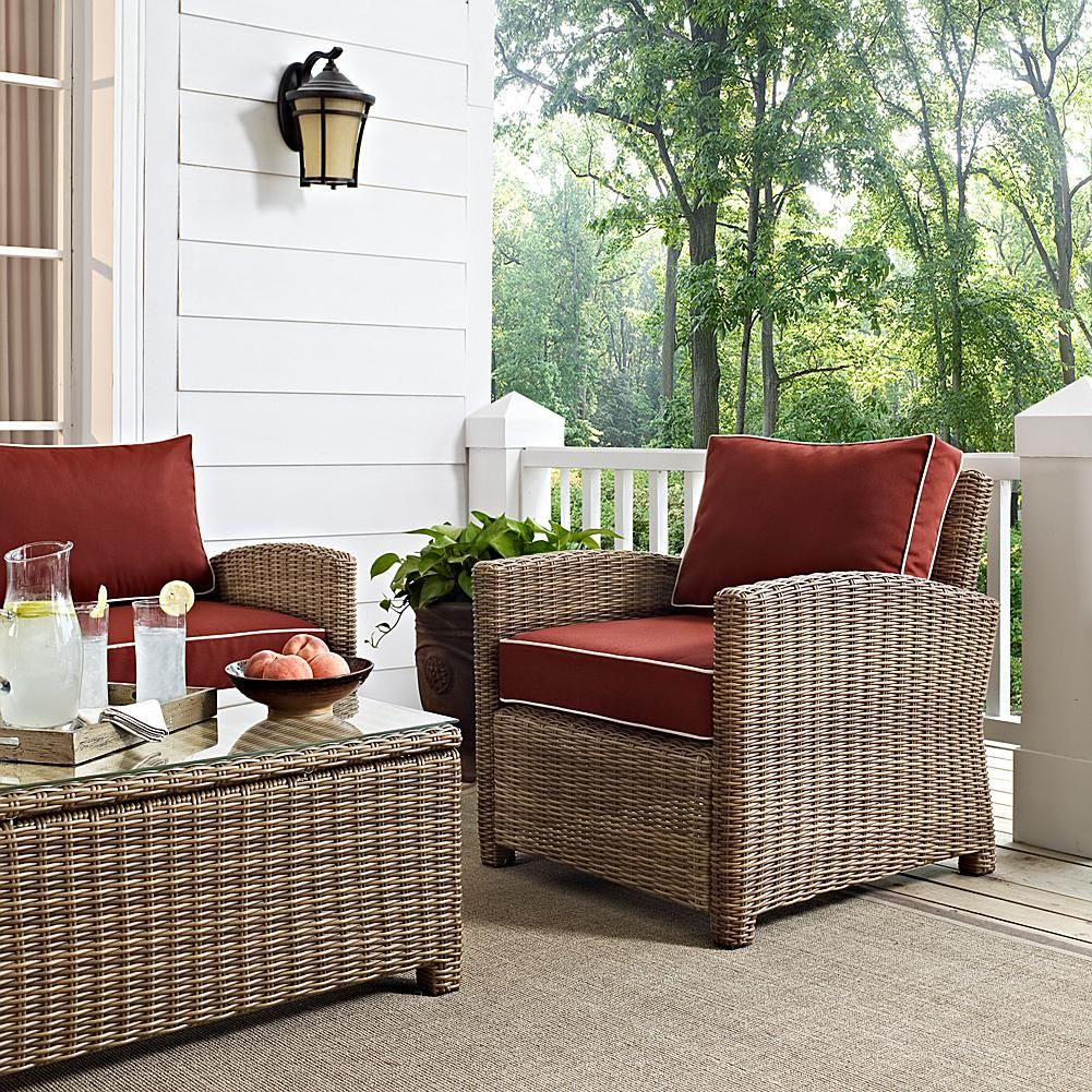 Surprising Crosley Bradenton Outdoor Wicker Arm Chair With Sangria Gmtry Best Dining Table And Chair Ideas Images Gmtryco