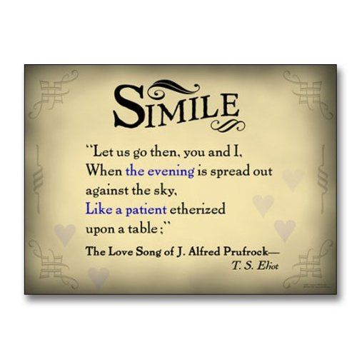 amazon com literary tools simile english literature poster literary tools simile english literature poster featuring a quote from the love song of j alfred prufrock by t