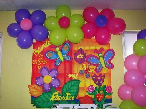 Decoración de flores y mariposas para fiesta infantil - Imagui ...