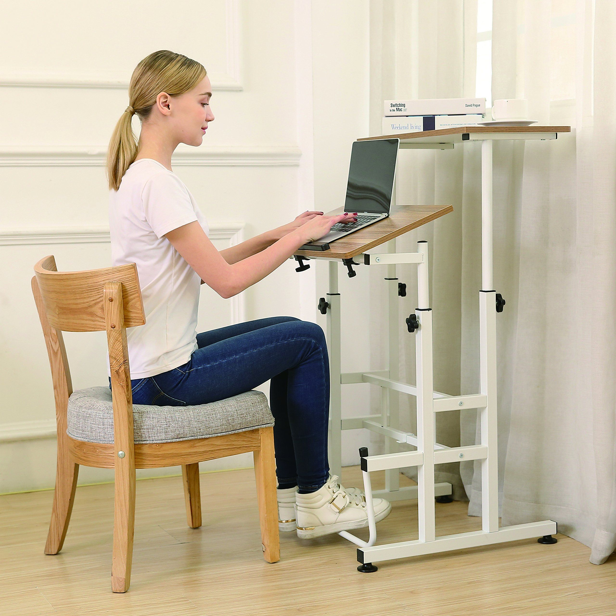 Sdadi Adjustable Height Standing Desk With Swinging Footrest Optional For Standing And Seating 2 Modes In 2020 Adjustable Height Standing Desk Standing Desk Foot Rest