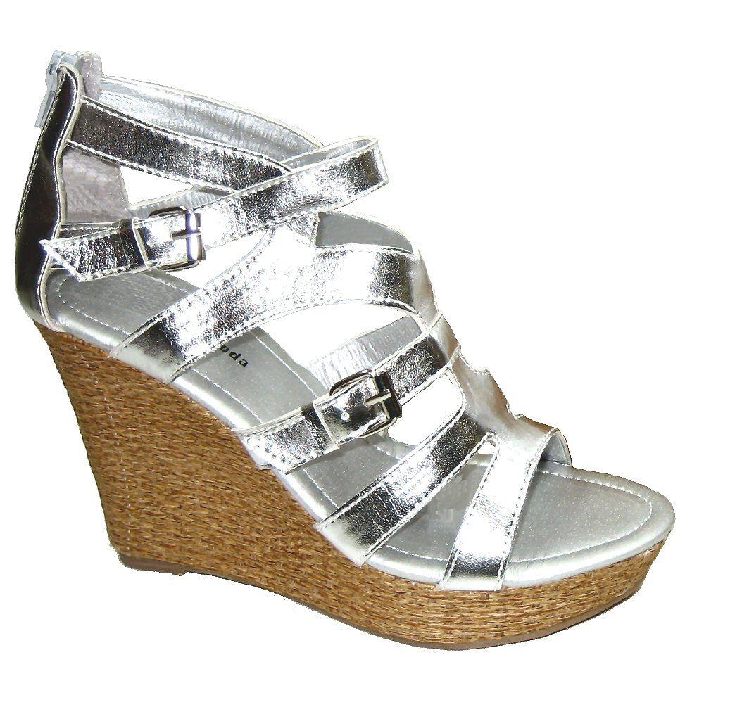 Top Moda D-9 platform espadrille sandals 4.5 inch wedge heels