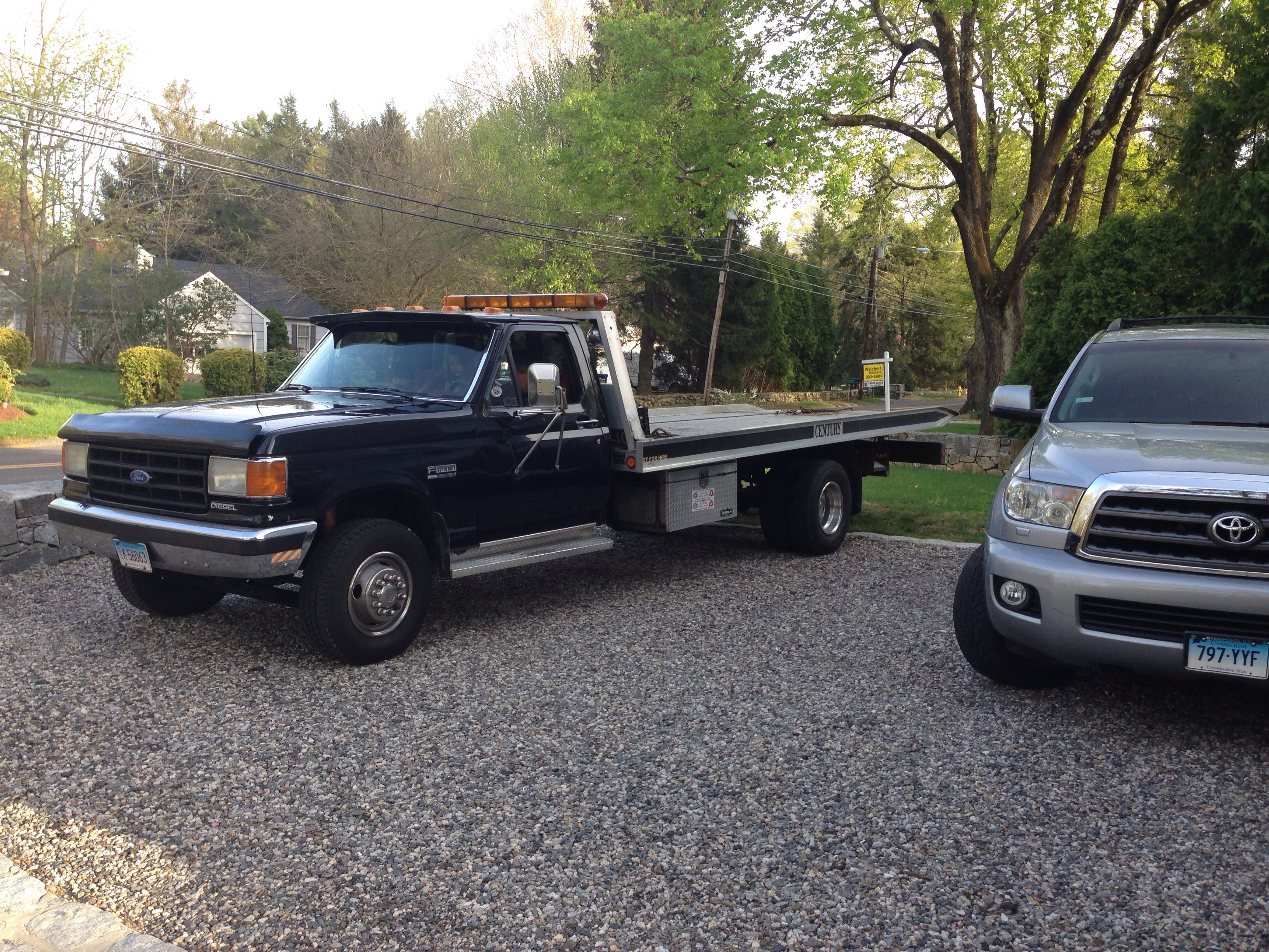 My dad s toy truck 1988 ford f450 super duty flat bed with diesel 7 3 l cummins