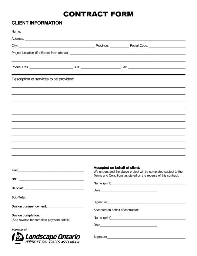 Nice Sample Of Printable Blank Contract Template With Client - Blank contract forms