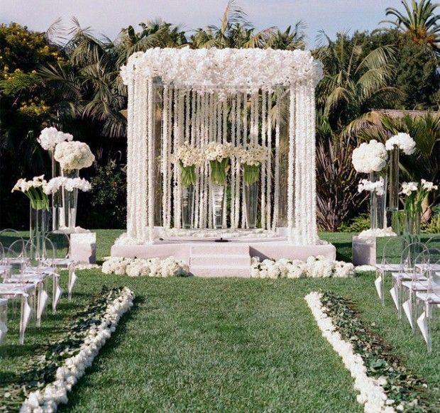 Modern Altar Wedding Decoration Ideas: Modern White Outdoor Wedding Ceremony Decor Photographed