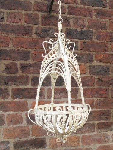 French Shabby Chic Distressed Antique Cream Wrought Iron Metal Garden  Hanging Basket Planter: Amazon.