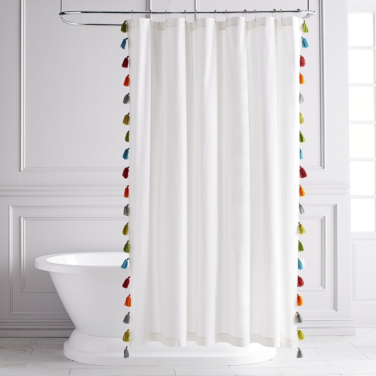 Eliza Tasseled Shower Curtain Pure White Bohemian Decor And Bath Jpg 1600x1600 Anthropologies Tender Falls