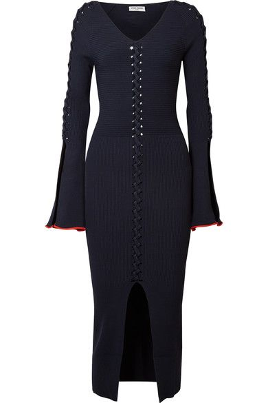 Criss Cross Ribbed-knit Midi Dress - Midnight blue Opening Ceremony Sale Comfortable 1qYC3AG