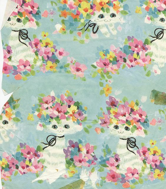 Vintage Wrapping Paper Cats And Flowers Vintage Wrapping Paper Kittens Vintage Vintage Kitsch