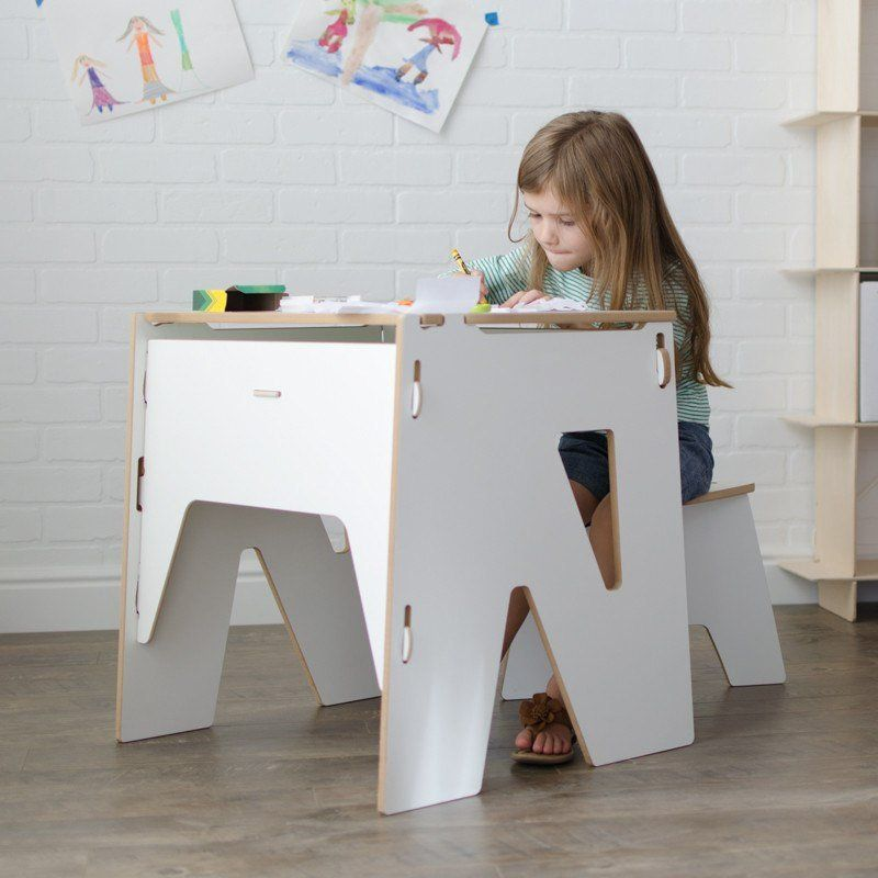 Delicieux Wooden White Kids Study Desk | Kids Study Table With Storage