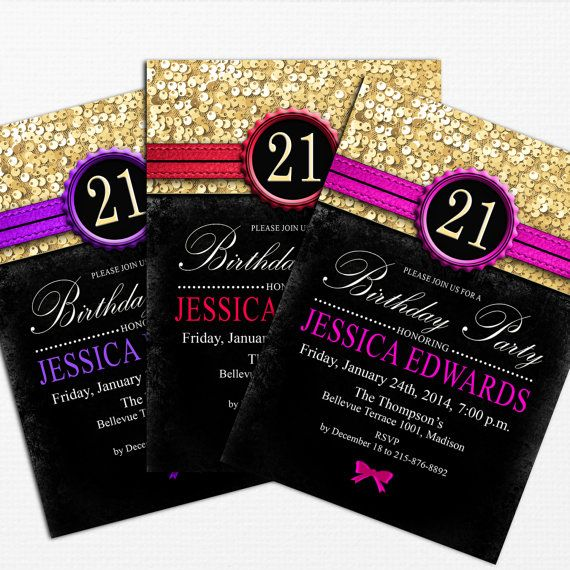 Gold Black Birthday Party Invitation Digital Printable – 21 Party Invitations