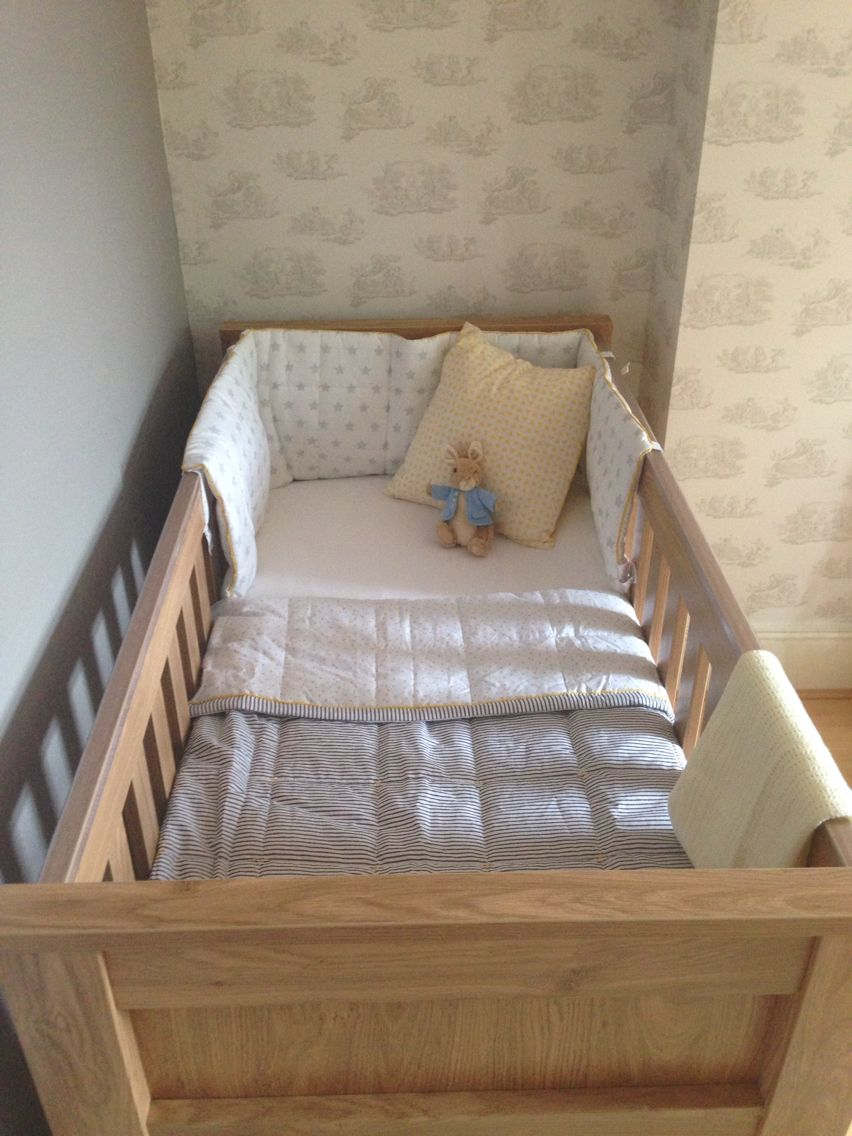 Our beautiful cot with john lewis bedding and bumper - vintage grey ...