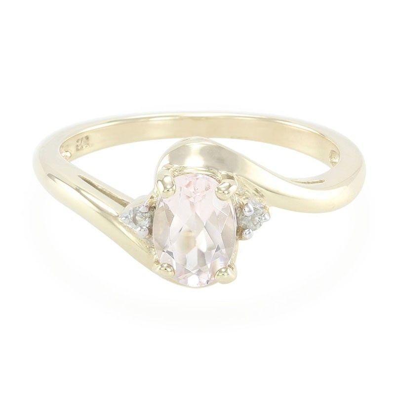 Bague de fiançailles en or sertie d'une Morganite et de Saphirs blancs - Bijoux de mariage rose - Juwelo Bijouterie en Ligne