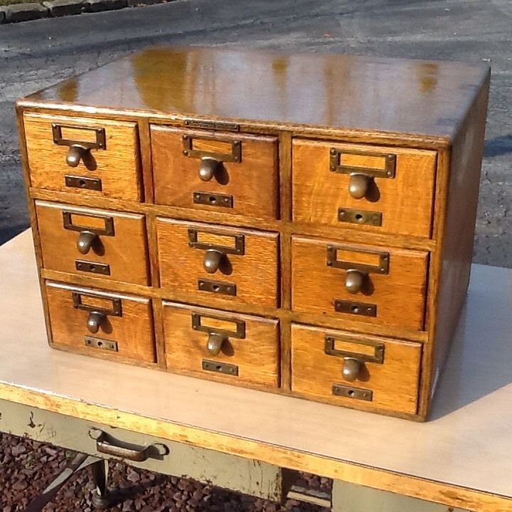 Antique 9 drawer wood library card catalog from ohio