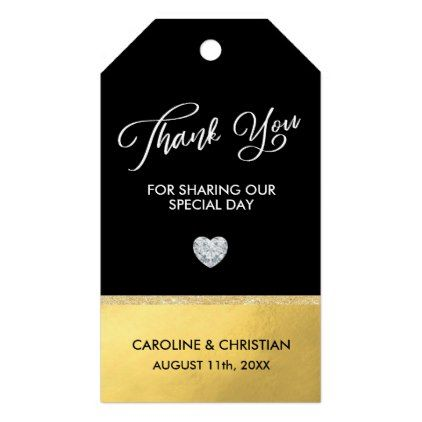 thank you white black faux gold foil heart wedding gift tags