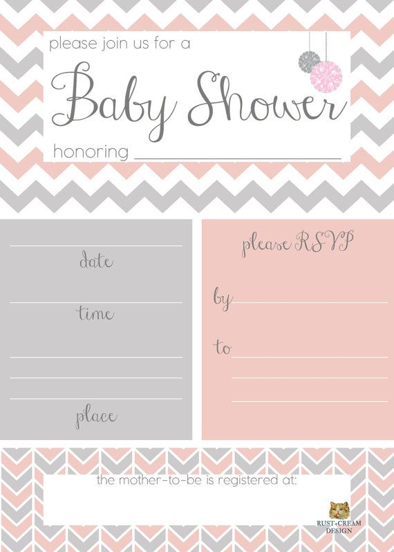 Blush Gray Baby Shower Invitation Blank Template Instant
