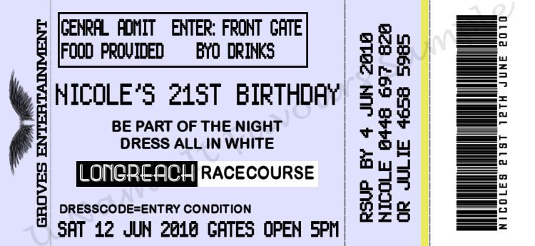 Concert Ticket Birthday Invitations Any Bees That Made Tick On