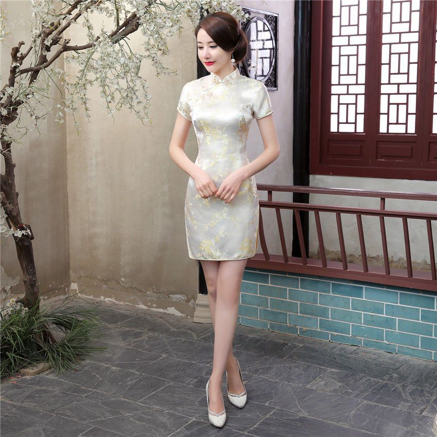 0edb69a29 Details about Sexy Traditional Chinese Women's Silk Satin Mini Dress ...