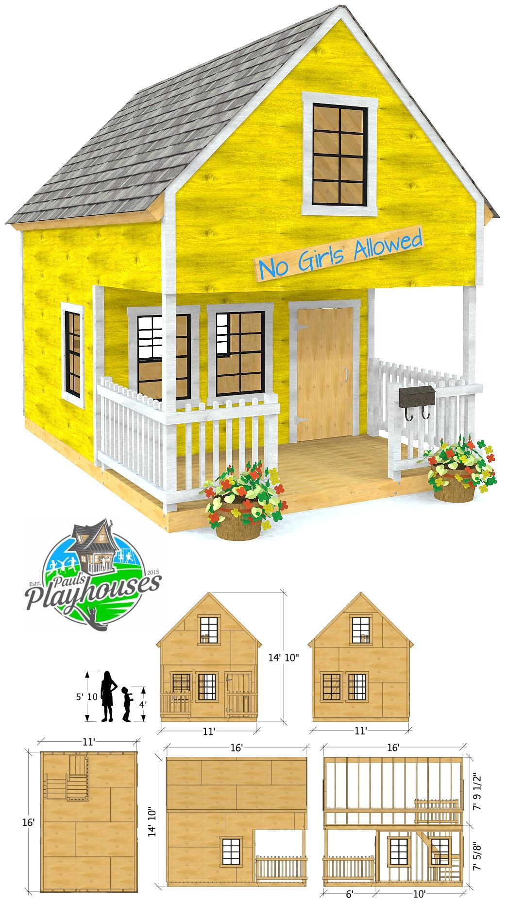 11x16 Two Story Yellow Playhouse Plan For Kids Play Houses Playhouse Plan Shed Homes