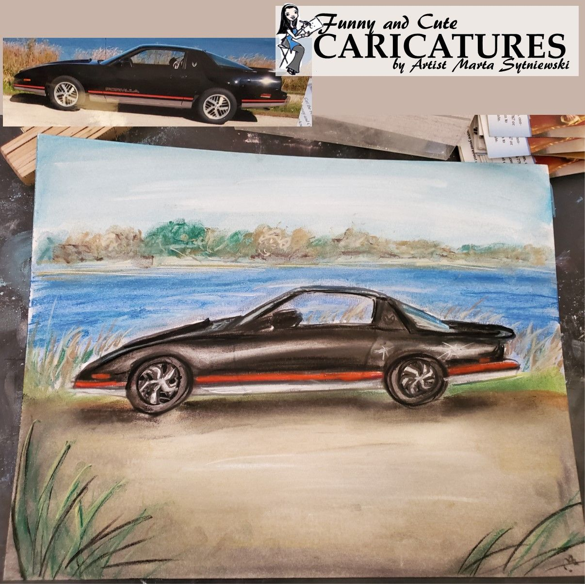 Get a handmade pastel drawing of your vehicle. Order your personalized car caricature by artist Marta Sytniewski today, call 773-574-7767 or email FunnyAndCuteCaricatures@gmail.com #Handmade #Handmacedrawing #Handmadecaricature #pastel #Pasteldrawing #Cardrawing #Vehicledrawing #CarCaricature #Pastelcaricature #MartaSytniewski