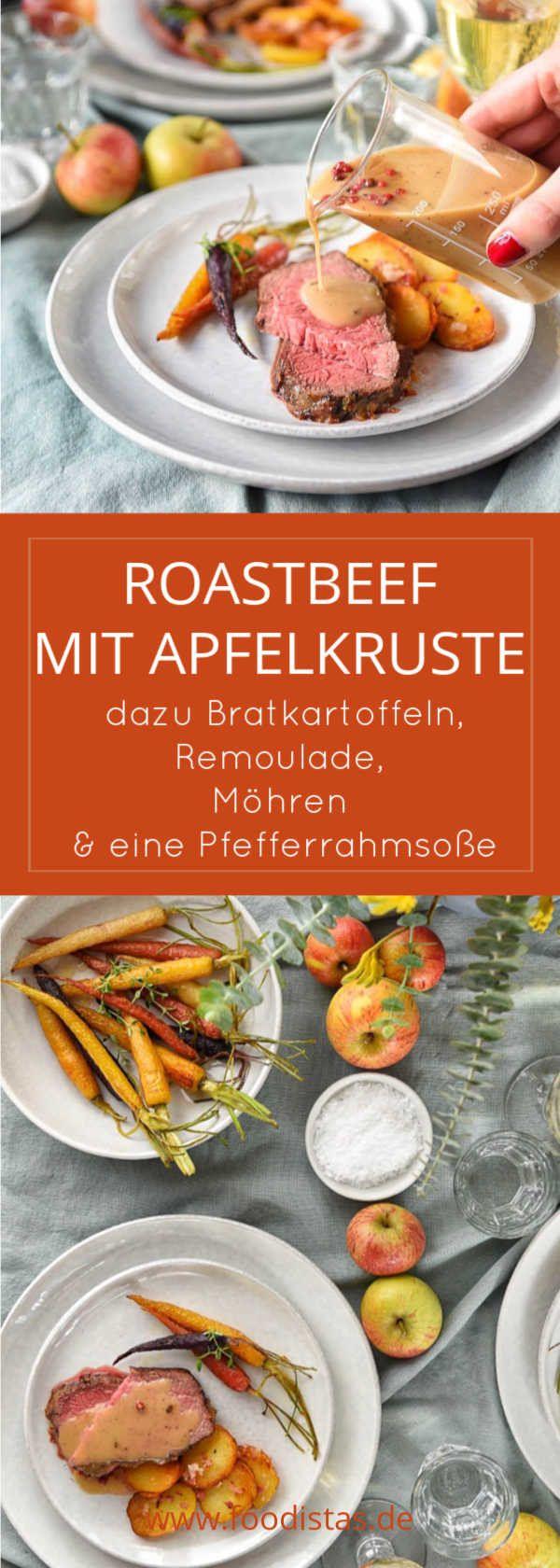 Roastbeef mit Apfelkruste, dazu Remoulade, Bratkartoffeln, Pfefferrahmsoße und Möhren