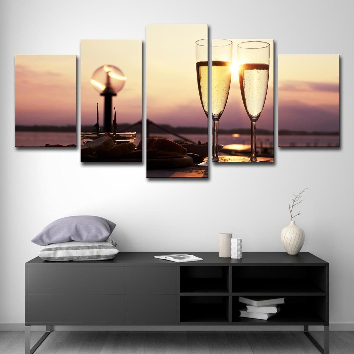 Wine Wall Art Decorating Dining Room Unique 5pcs Wall Art Canvas Painting Style Wall For Living Room 5 Panel Wine And Sunrise Cuadros Modern D Ruang Makan Dekor